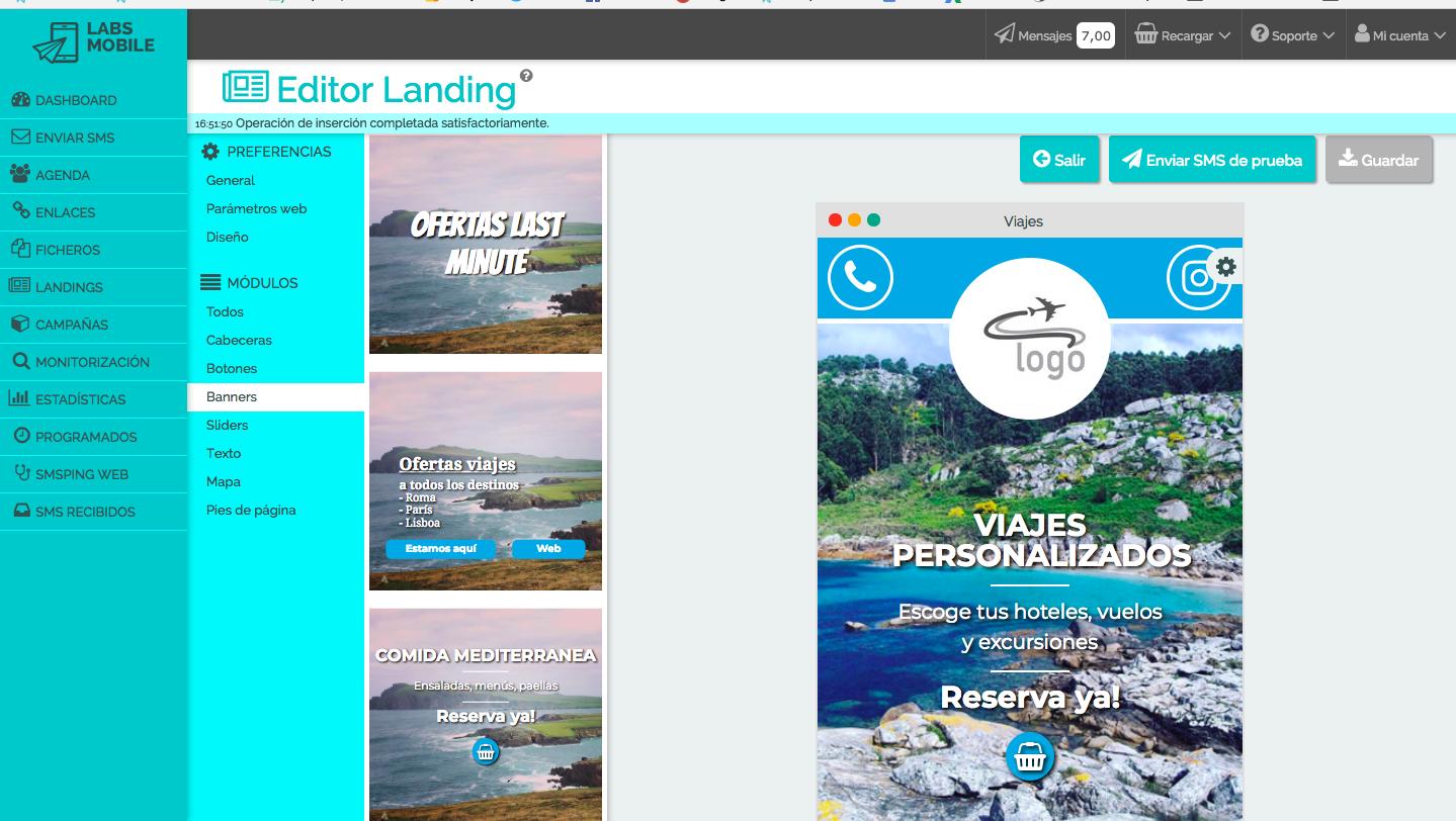 Editor SMS Landings de LabsMobile. Plataforma de envío SMS.