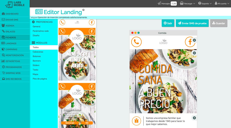Envía SMS con Landing Page.