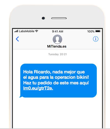 Mensajes SMS personalizados.