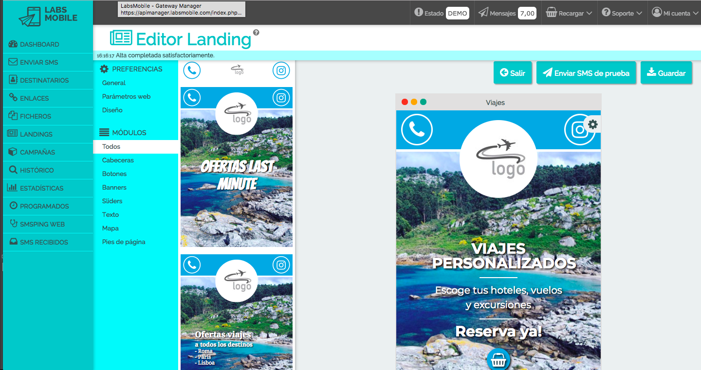 SMS Landing oferta