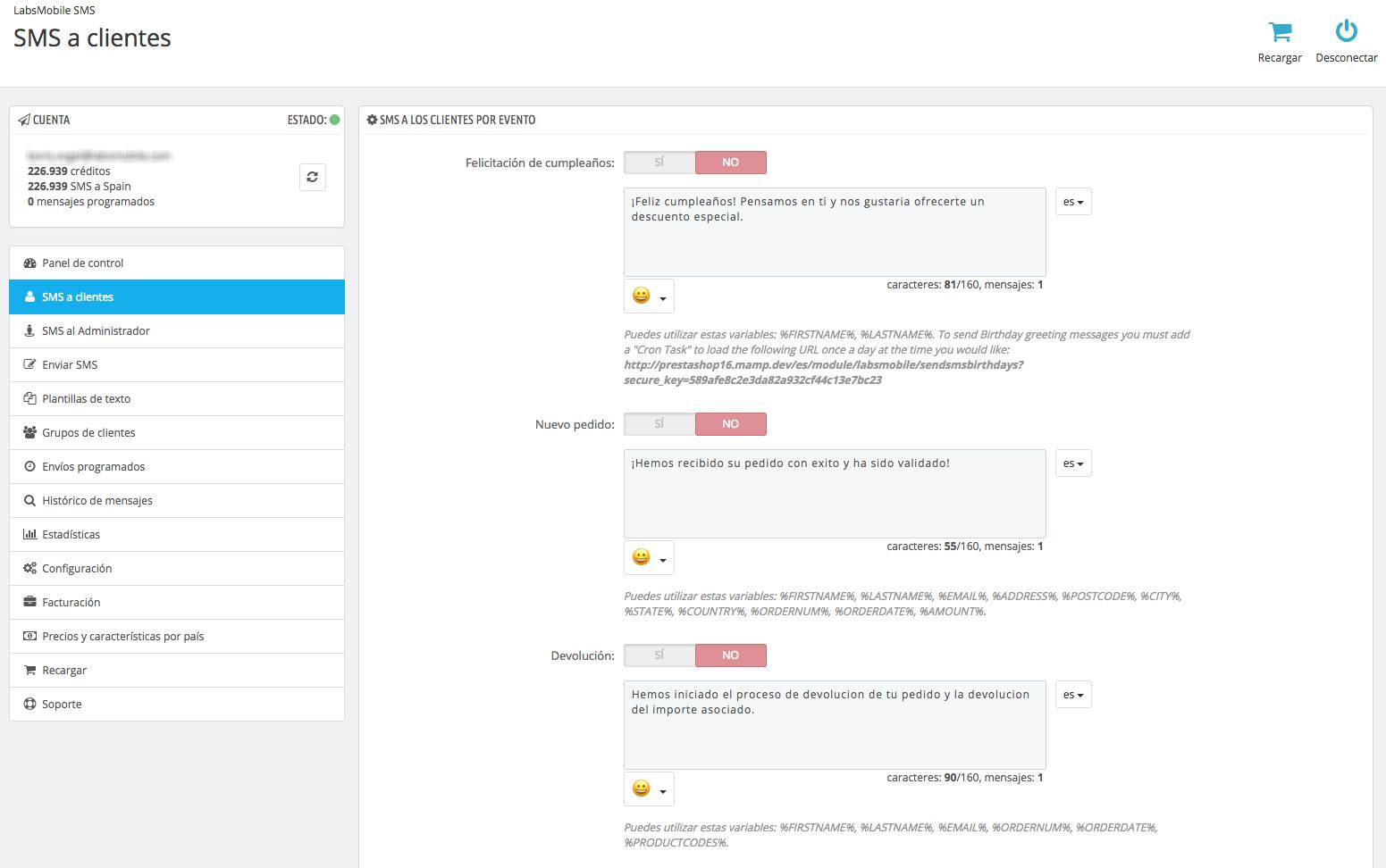 Configuració d'enviaments automàtics del mòdul LabsMobile SMS per Prestashop.