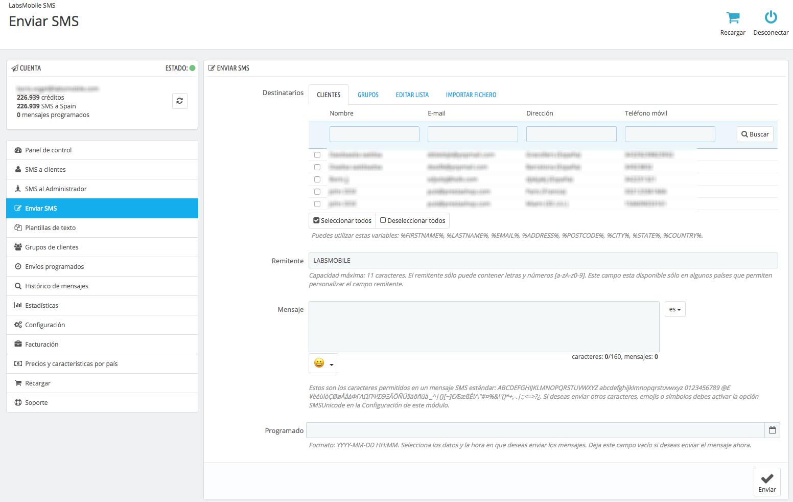Realitza enviaments manuals en el mòdul LabsMobile SMS per Prestashop.