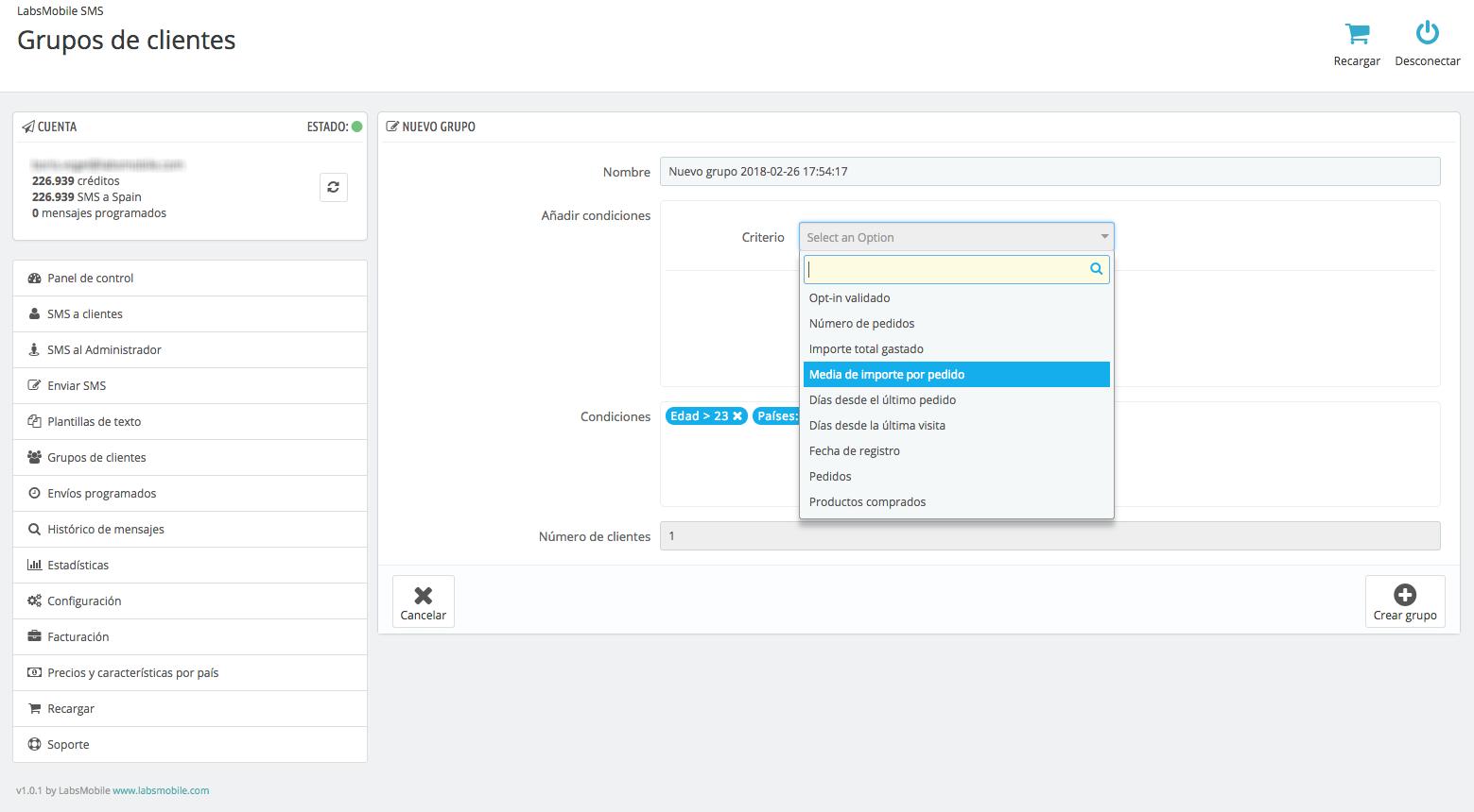Crea segmentacions de clients i campanyes SMS al mòdul LabsMobile SMS per Prestashop.