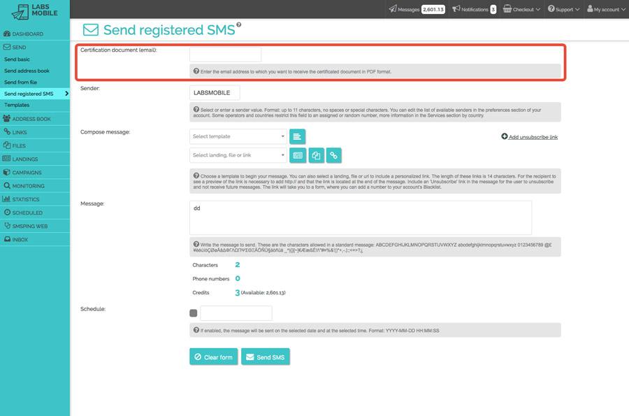 Sending methods - Certified messages
