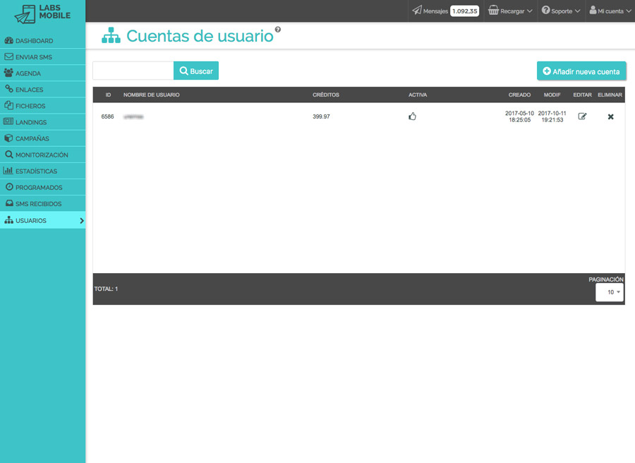 Preferencias y configuración - Creación y gestión de subcuentas