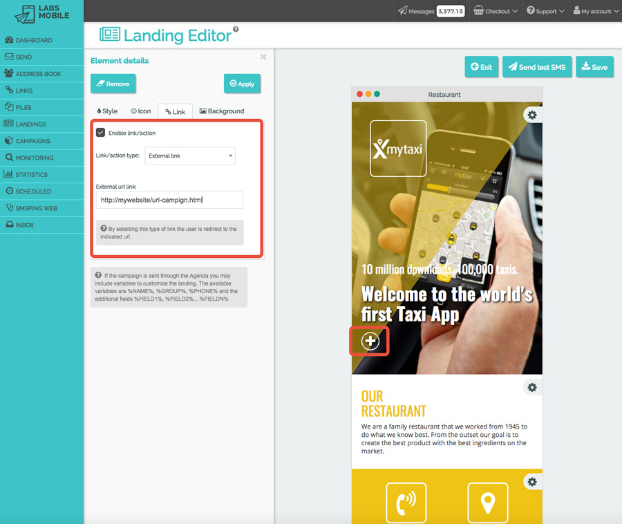Landings web with SMS - Customization of actions and links