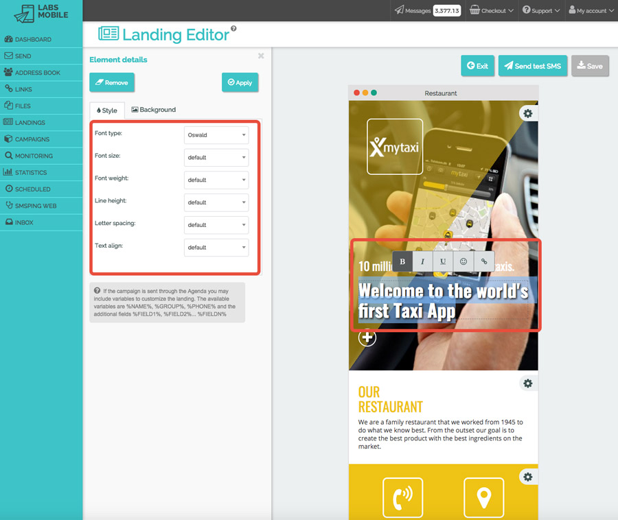 Landings web with SMS - Customization of content