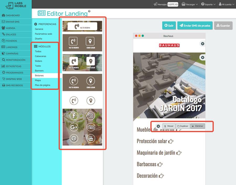 Landings web en SMS - Diseño en módulos intercambiables