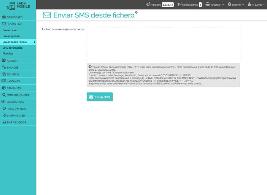 Modes d'enviament - Enviament de missatges a través de fitxer
