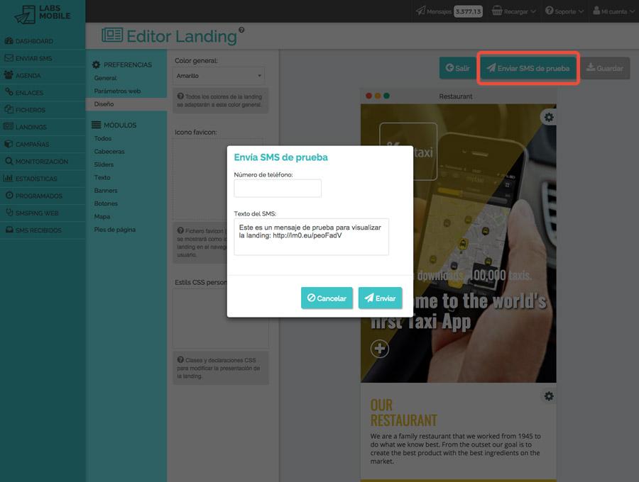 Landings web en SMS - Envío de pruebas y simulaciones de campañas