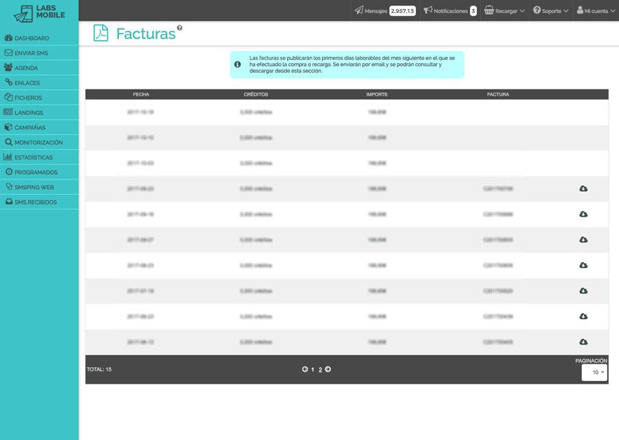 Preferencias y configuración - Envío y publicación de facturas