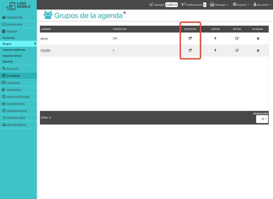 Agenda i bases de dades - Exportació de bases de dades