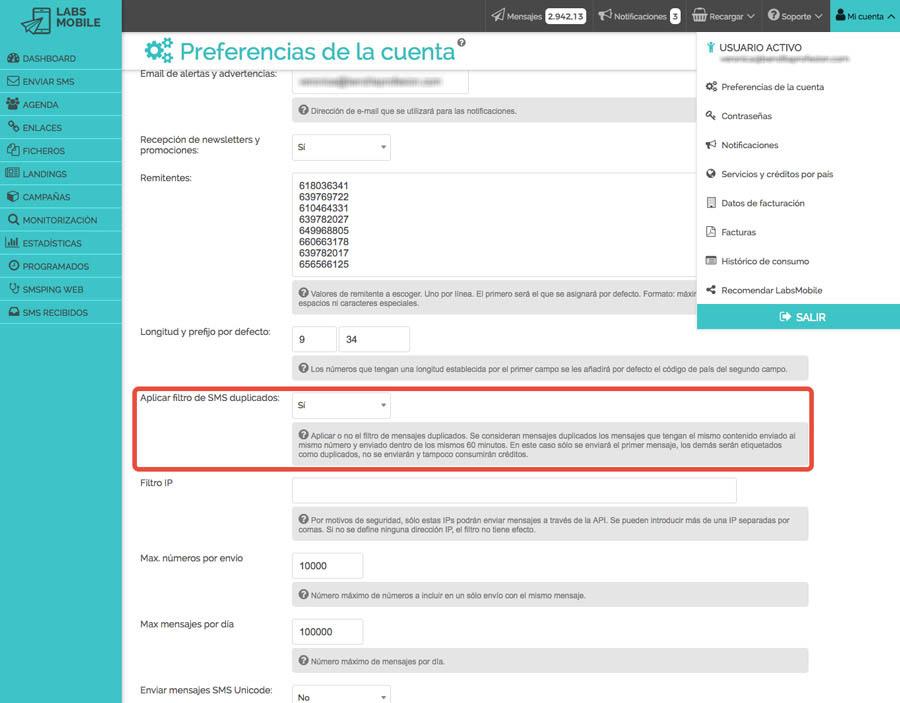 Preferencias y configuración - Filtro anti mensajes duplicados
