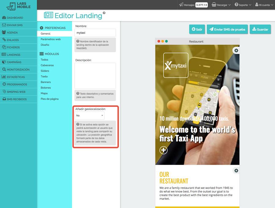 Landings web en SMS - Geolocalización de visitas