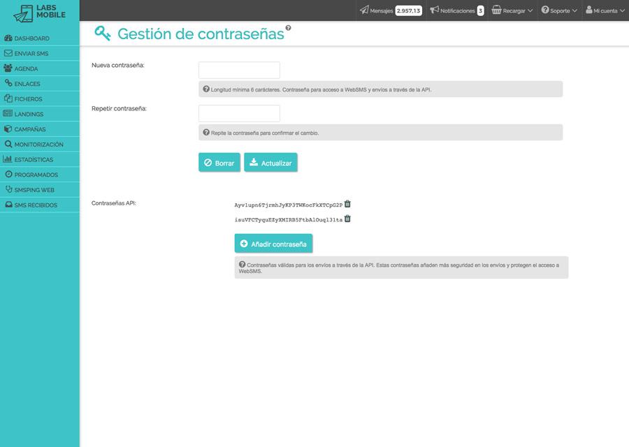 Preferencias y configuración - Gestión de contraseñas API