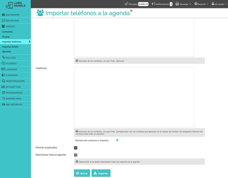Agenda i bases de dades - Importació de nombres de forma manual