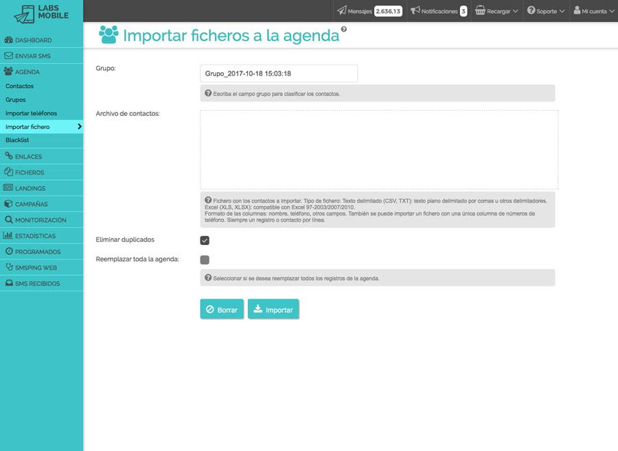 Agenda i bases de dades - Importació des de fitxer