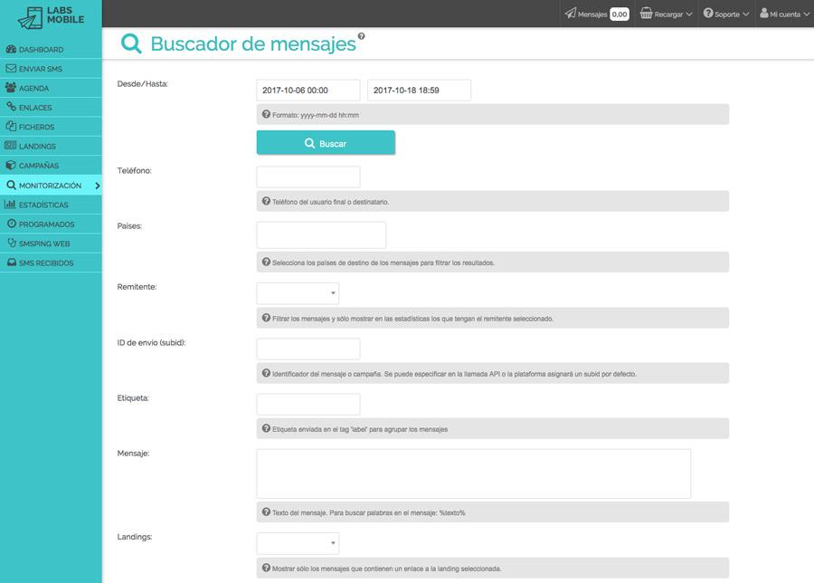 Resultados y estadísticas - Monitorización de mensajes enviados