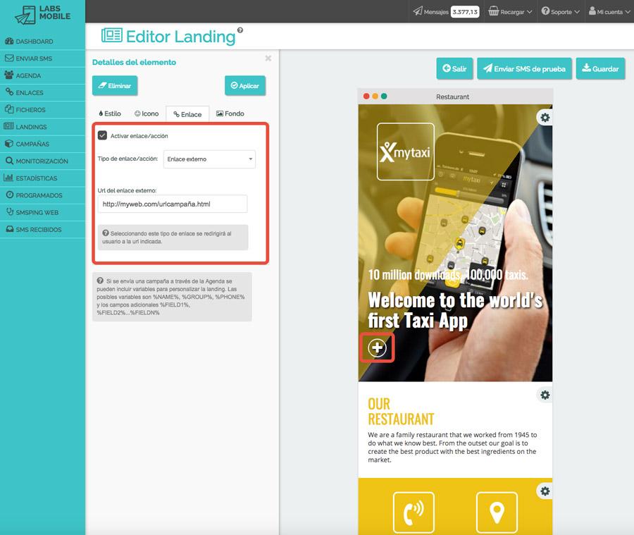 Landings web en SMS - Personalización de acciones y enlaces