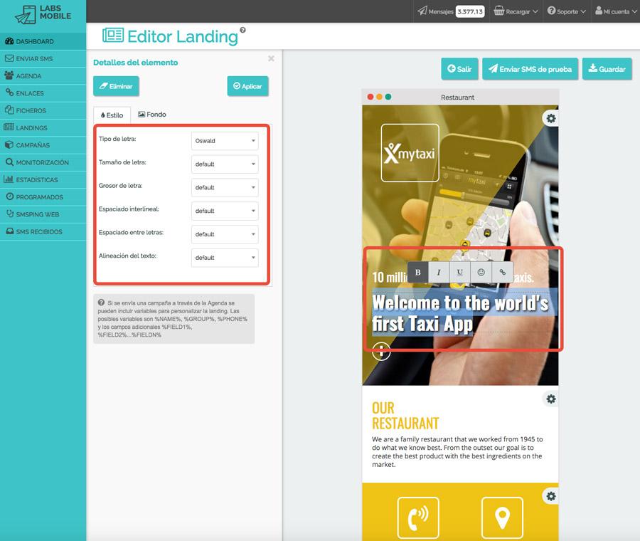 Landings web en SMS - Personalización de contenido