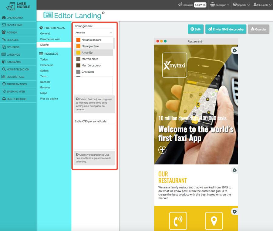 Landings web en SMS - Personalización de diseño
