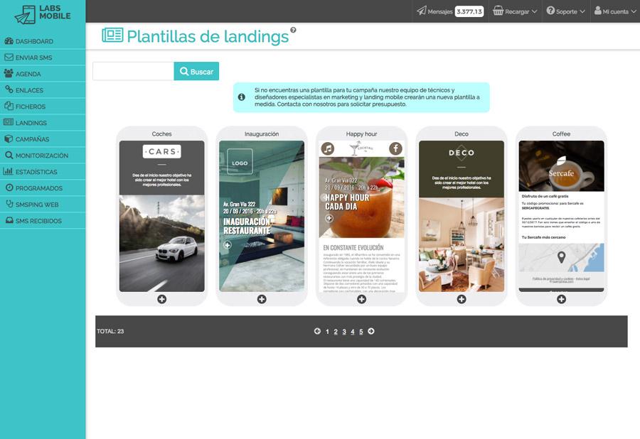 Landings web en SMS - Plantillas landing