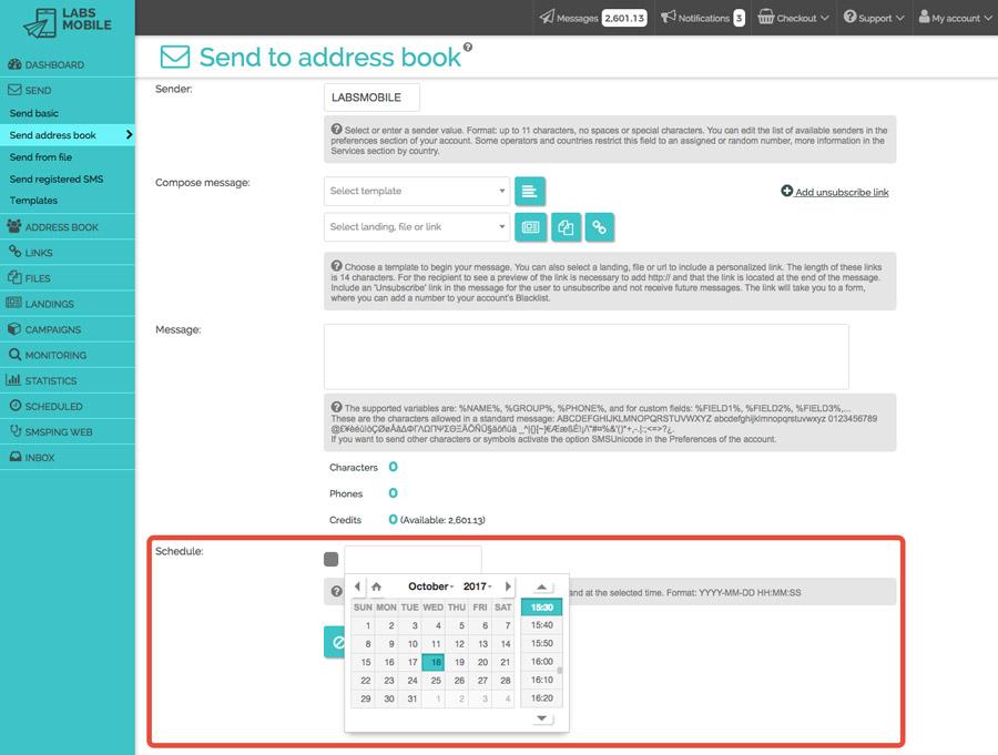Sending methods - Scheduled sendings